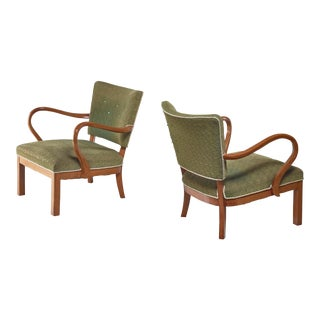 Pair of Beech Lounge Chairs With Green Patterned Wool, 1930s For Sale
