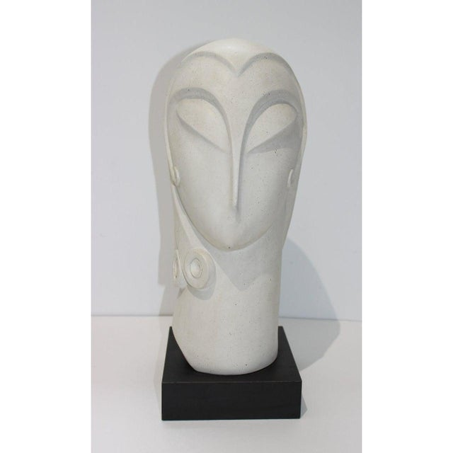Vintage Art Deco Revival Fisher Sculpture Woman's Head Austin Productions Reproduction For Sale - Image 10 of 12
