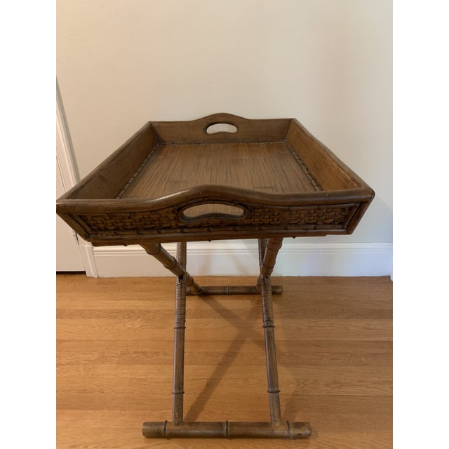 Mid-Century Modern 1960s Mid Century Faux Bamboo and Rattan Folding Tray Table For Sale - Image 3 of 12