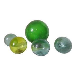 Vintage Glass Fishing Floats - Set of 5 For Sale