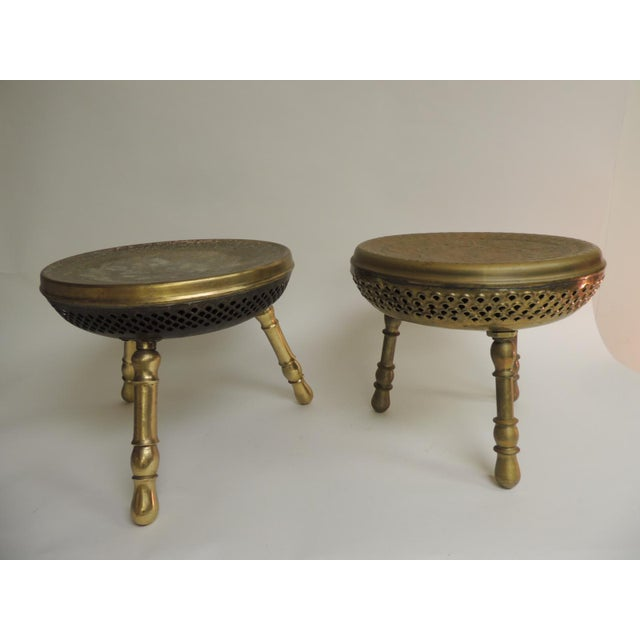 Pair of Vintage Low Round Tripod Indian Low Stools or Tables For Sale In Miami - Image 6 of 6