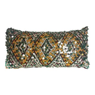 "Vintage Moroccan Diamond Lumbar W/ Sequins - 24"" X 12"" For Sale"