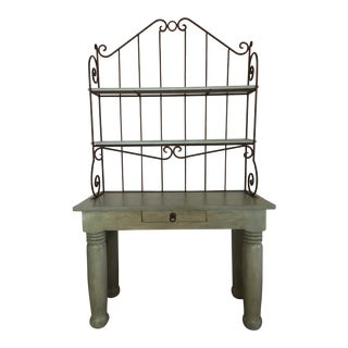 Hand Painted Solid Pine & Wrought Iron Bakers Rack For Sale