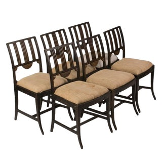 Early 19th Century Swedish Upholstered Dining Chairs - Set of 6 For Sale