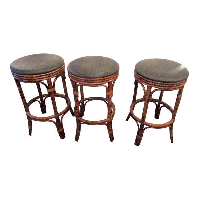 Burnt Bamboo Bar Stools With Woven Seats - Set of 3 - Image 1 of 6