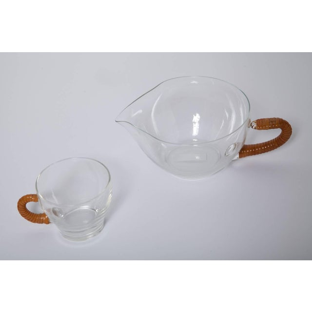 Blown Glass 1950s Wicker Wrapped Glass Punch and Cups Bowl Set - 15 Pc. Set For Sale - Image 7 of 9