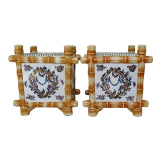 Chinese Hand-Painted Square Cachepots - A Pair For Sale