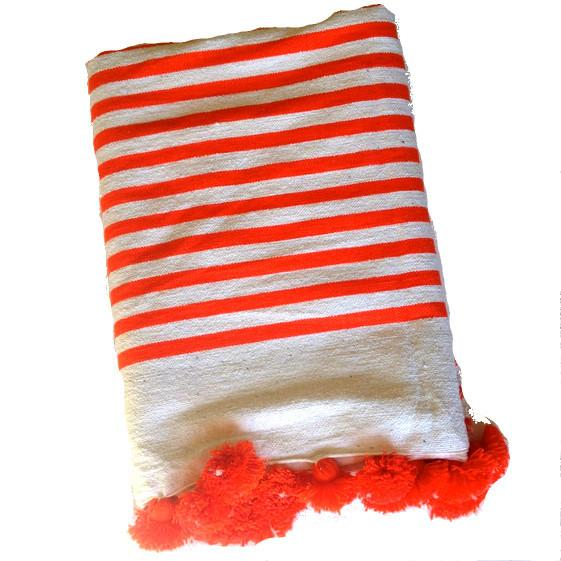 Orange Striped Moroccan Blanket with Tassels - Image 1 of 2