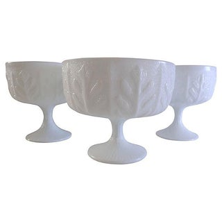 Milk Glass Compotes - Set of 3 For Sale