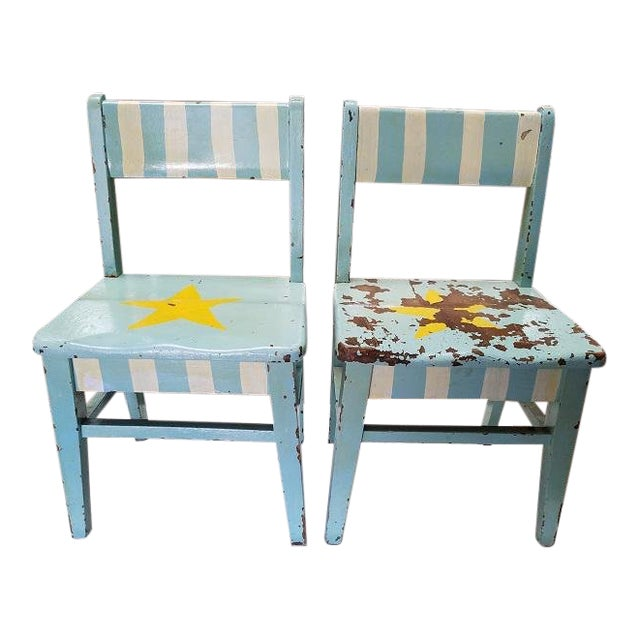 Pair of Vintage Shabby Chic Painted Children's Chairs C.1930s For Sale