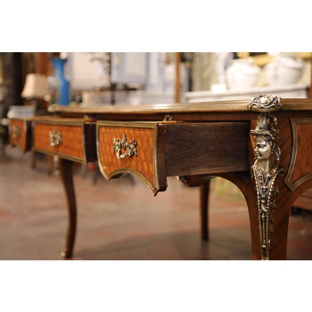 19th Century French Louis XV Marquetry and Bronze Bureau Plat With Leather Top For Sale - Image 12 of 13