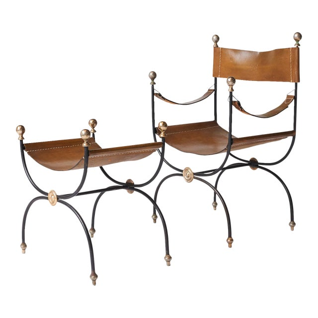 Jacques Adnet safari chair and ottoman set - 2 pieces For Sale