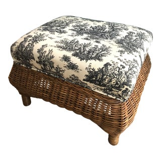 Wicker Footstool With Black Toile Upholstery