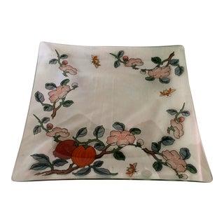 Rare Vintage Dorothy Thorpe Vine & Bee Glass Serving Platter For Sale