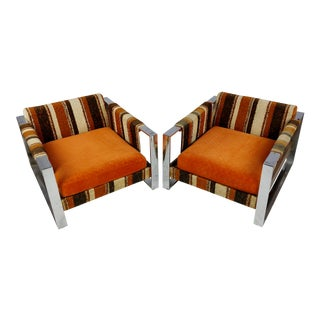 Milo Baughman 1970s Vintage Upholstered Chrome Chairs - a Pair For Sale