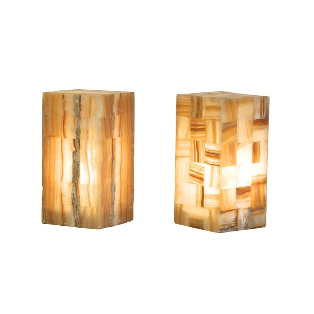 Onyx & Metal Rectangular Lamps - A Pair - Image 1 of 4