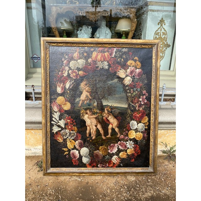 17th C. Italian Flemish Cherub Painting With Floral Wreath Motif For Sale - Image 4 of 9