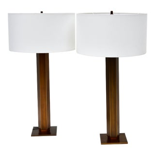 Tall Bronze Table Lamp Pair For Sale