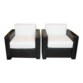 Custom Pair of Leather and Raw Silk Tuxedo Club Chairs For Sale