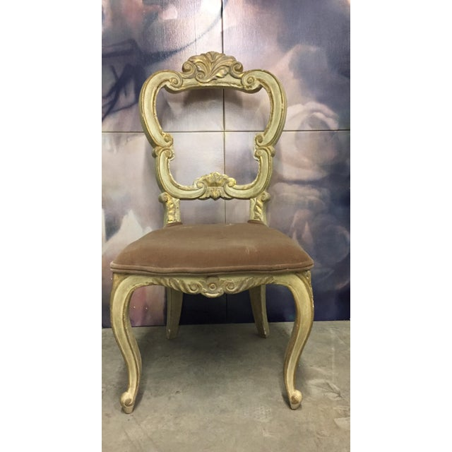 Mid 19th Century White Carved Beige Velvet Seat Chair For Sale - Image 5 of 5