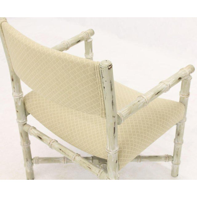 Pair of Distressed Finish Faux Bamboo Capitan Chairs With X Bases For Sale - Image 4 of 13