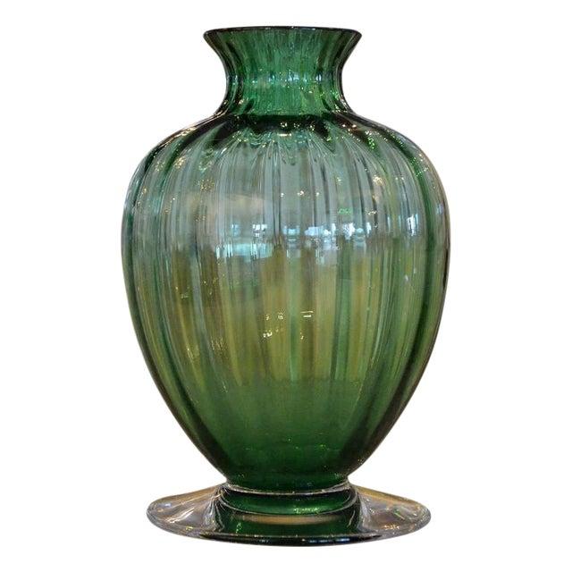 Mid Century Modern Baccarat Green Crystal Ribbed Baluster Form Vase - Image 1 of 6