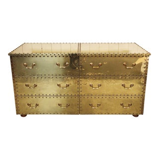 Sarreid Brass Clad Six Drawer Dresser For Sale