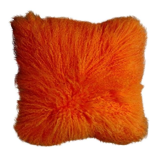 Orange Mongolian Lamb Pillow For Sale
