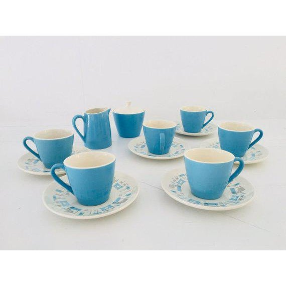 Ceramic Midcentury Atomic Design Blue Heaven 15 Pieces Tea Set For Sale - Image 7 of 7