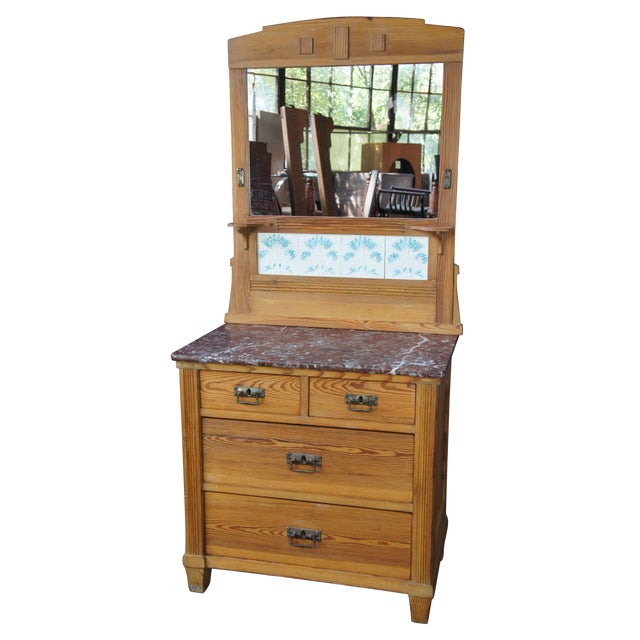 Victorian Antique Pine Marble Top Storage Cabinet For Sale