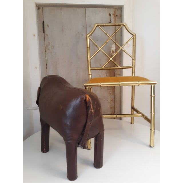 Mid-Century Modern 1960s Vintage Dimitri Omersa Elephant Abercrombie and Fitch Leather Footstool For Sale - Image 3 of 11