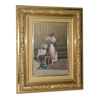 19th Century Portrait of a Young Woman Watercolor Painting For Sale