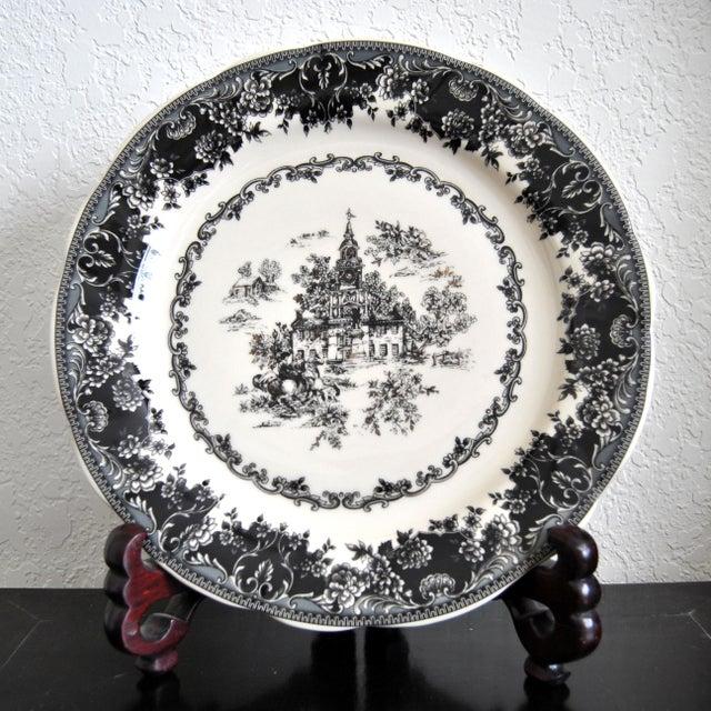 Ceramic Toile Black Staffordshire Plate, Equestrian Trasferware Tabletop Platter For Sale - Image 7 of 7