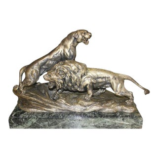 """French Art Deco Sculpture of Panther and Lion by """"Cartier"""" Circa 1940's For Sale"""