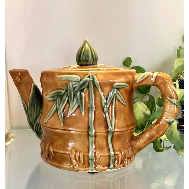 Burnt Umber Vintage Ceramic Teapot With Bamboo Relief Carving For Sale - Image 8 of 13
