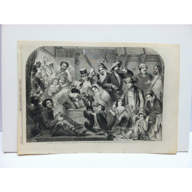 """Mid 19th Century 1858 Antique Illustrated London News """"Welcome Given in Melbourne Australia to a Primrose From England"""" Print For Sale - Image 5 of 5"""