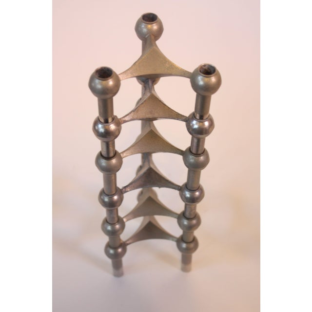 Set of Six Nagel Modular Candlesticks in Nickel - Image 3 of 9