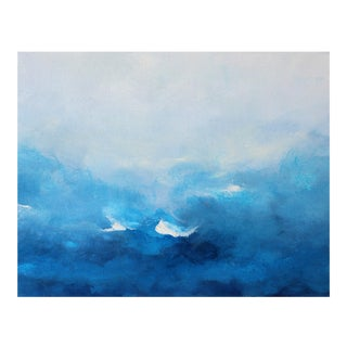 Beach Coastal Original Abstract Oil Painting Swept Away Modern Blue White For Sale