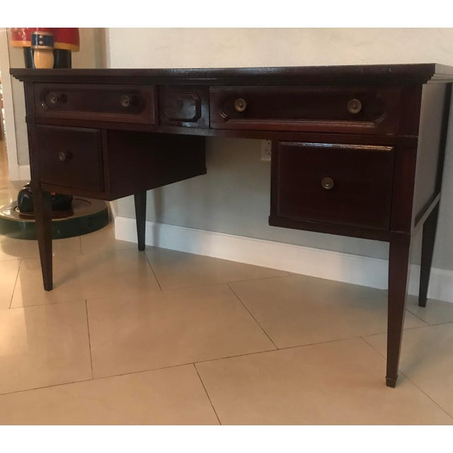 Wood 1960s Mid Century Modern Bassett Furniture Writing Desk For Sale - Image 7 of 7