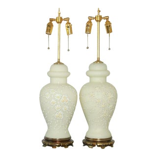 Vintage Italian Ceramic Table Lamps White For Sale
