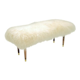 """Curly Warm White Abby 48"""" Bench For Sale"""