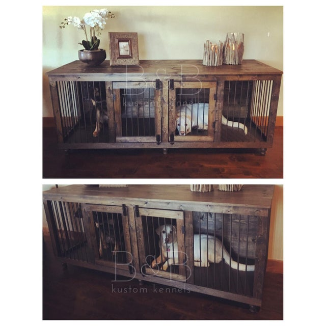 B&B Kustom Kennels Double Doggie Den Rustic Credenza For Sale In Washington DC - Image 6 of 7