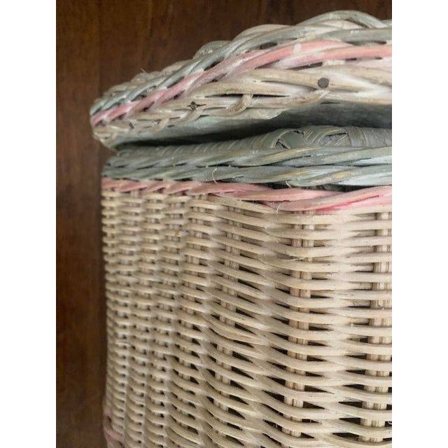1960s White-Washed Natural, Pink and Mint Striped Octagonal Wicker Clothes Hamper With Braided Trim For Sale - Image 10 of 13