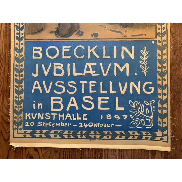 Gothic Large Original Vintage Swiss Poster for Art Show of Boecklin 1897 For Sale - Image 3 of 13