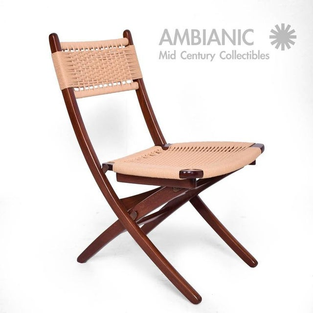 For your consideration a vintage folding chair constructed with solid wood and rope, Wegner style. Chair has been restored...