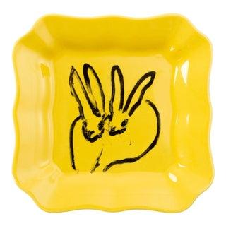Hunt Slonem Yellow Portrait Plate - a Pair For Sale