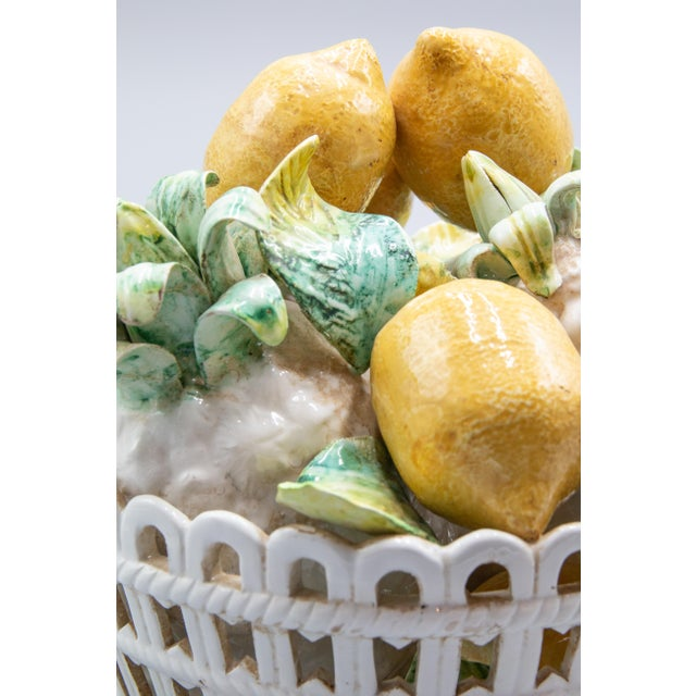 Paint Vintage Italian Majolica Lemons & Pineapples Basket Centerpiece For Sale - Image 7 of 8