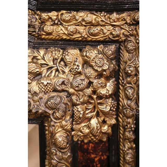 19th Century French Napoleon III Repousse Brass and Ebony Overlay Wall Mirror For Sale - Image 9 of 11