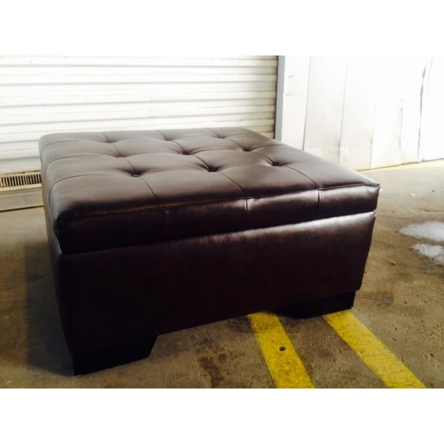 Contemporary Brown Faux Leather Storage Ottoman For Sale - Image 3 of 6