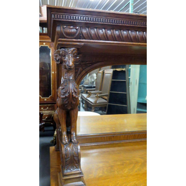 Renaissance Style Sideboard With Superstructure For Sale - Image 4 of 11